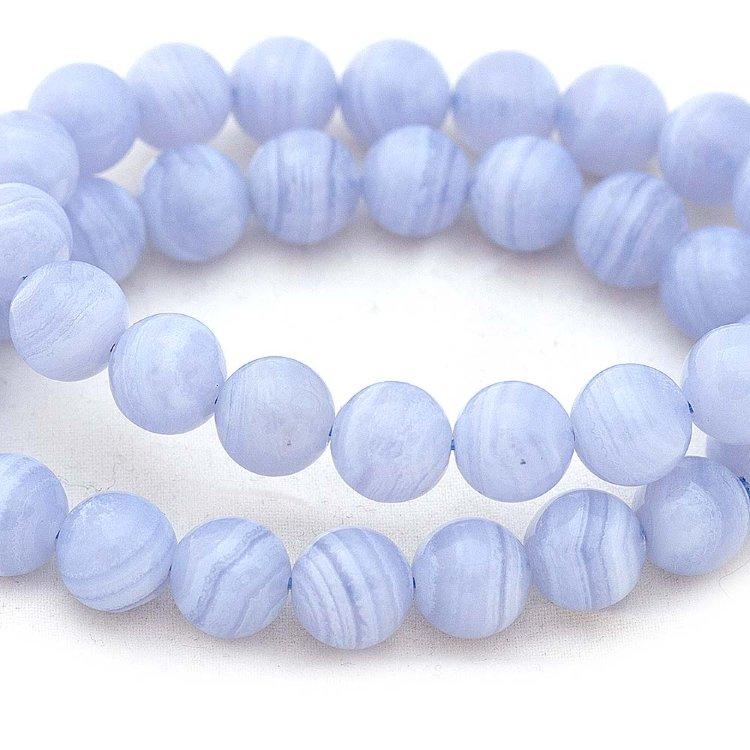 Агат голубой, бусина шарик 10мм «ААА»